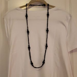 Black beard necklace and clip earring set